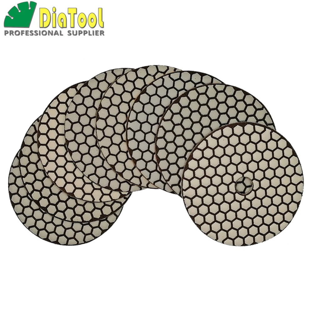 DIATOOL 8pcs/set 5 Diamond Flexible Dry Polishing Pads For Granite Marble Ceramic 125mm Sander Disk Sanding Disc Free Shipping